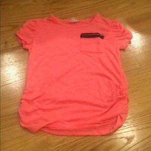 D-signed pink/orange shirt, scrunch detailing